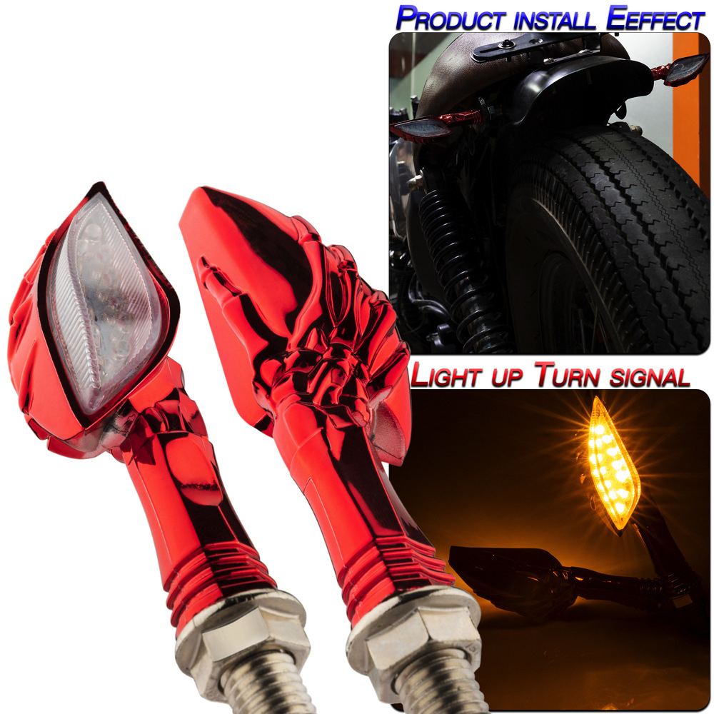 1 Pair Motorcycle Accessories Universal Type Led Turn Signal Lights Red shell/yellow light