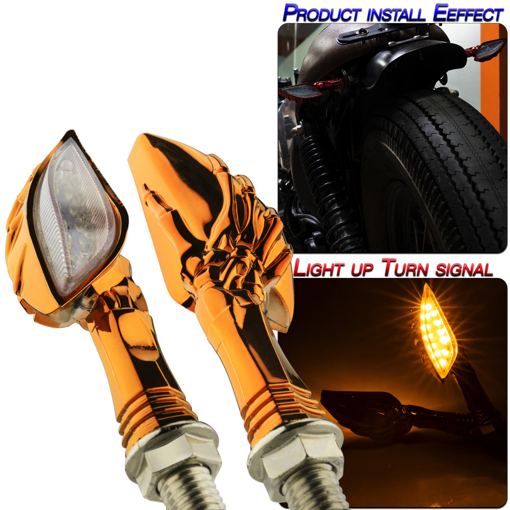 1 Pair Motorcycle Accessories Universal Type Led Turn Signal Lights Orange shell/yellow light