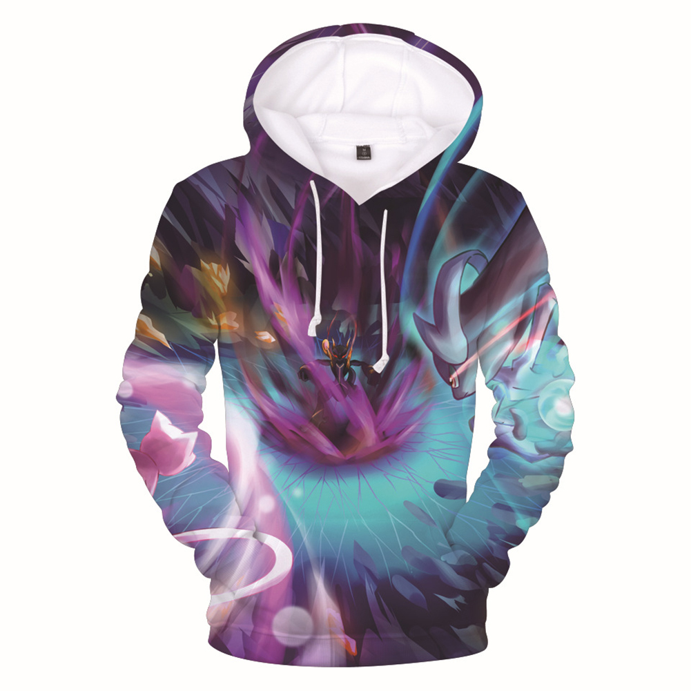 Men Women Fashion Cartoon Digital Printing Fleeces Hooded Sweatshirt Q0114-YH03 Purple_S