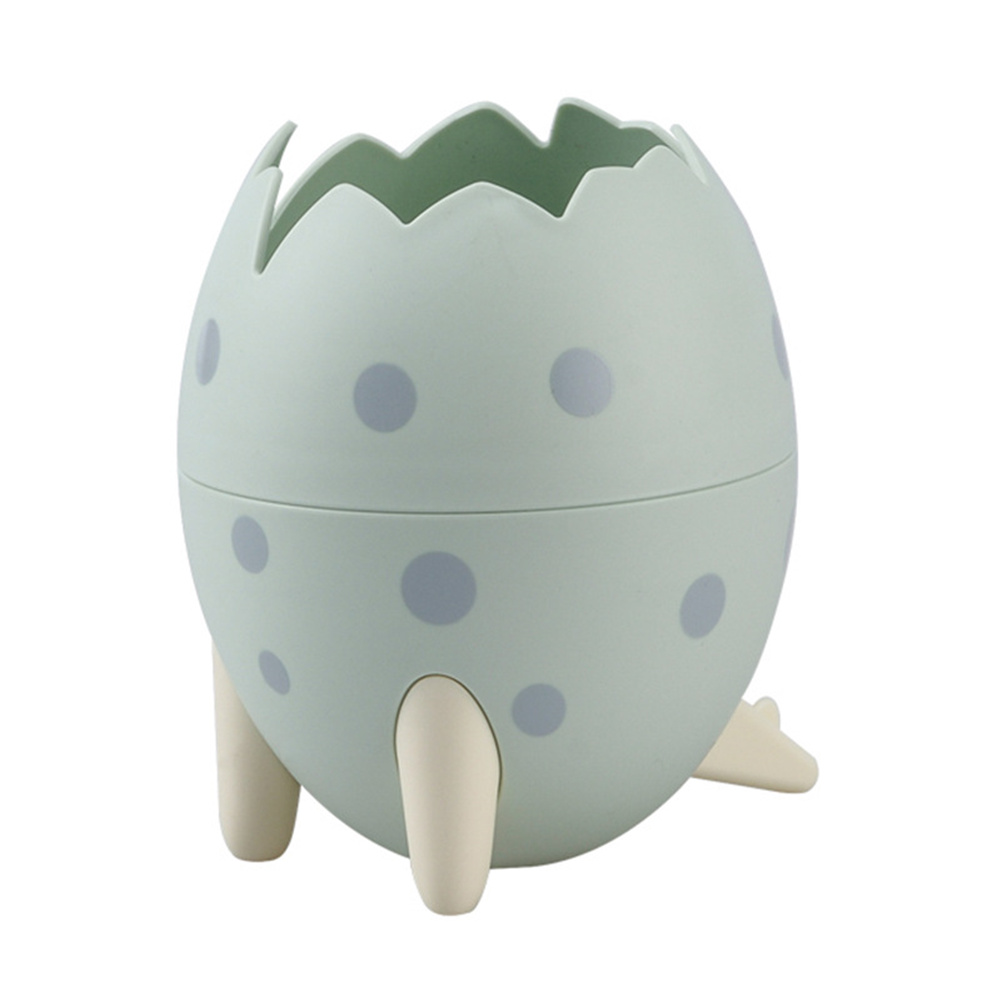 Dinosaur  Egg  Tripod  Desktop  Storage  Box Creative Desktop Makeup Brush Small Objects Organizer Green