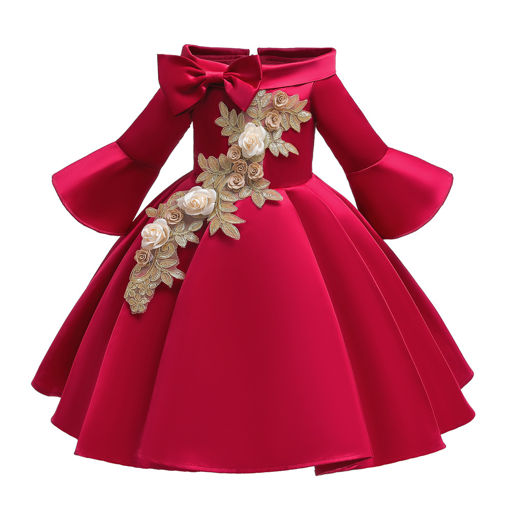 Kids Girls Princess Dress Middle Sleeve Embroidery Full Dress for Christmas New Year Party Wedding red_130