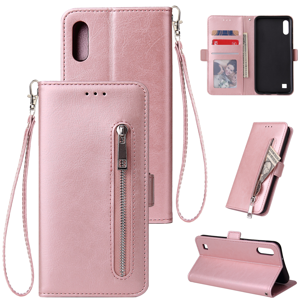 For Samsung A10 Solid Color PU Leather Zipper Wallet Double Buckle Protective Case with Stand & Lanyard Rose gold