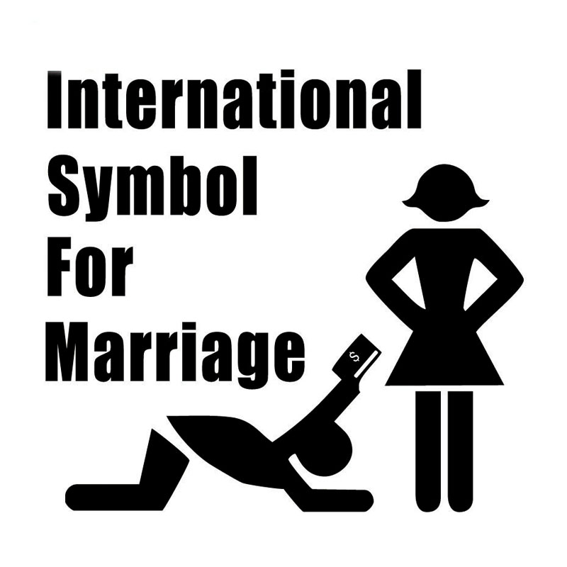 International Symbol for Marriage Car Sticker Reflective Funny Decals