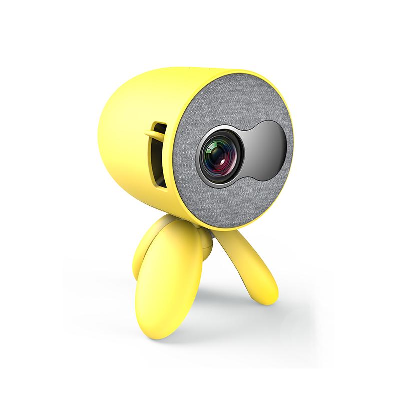 Mini Projector Kids 1080P High Definition LED Home Projector Portable yellow_EU Plug
