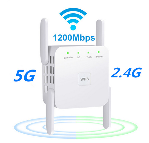 WiFi Amplifier 5G 1200Mbps  WiFi Router 2 External Antenna Wifi Range Amplifier Wifi 1200Mbps white British regulations