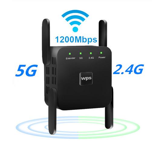 WiFi Amplifier 5G 1200Mbps  WiFi Router 2 External Antenna Wifi Range Amplifier Wifi 1200Mbps black US regulations