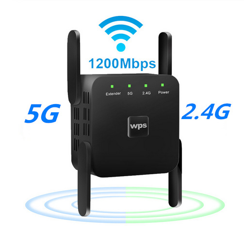 WiFi Amplifier 5G 1200Mbps  WiFi Router 2 External Antenna Wifi Range Amplifier 0Mbps black European regulations