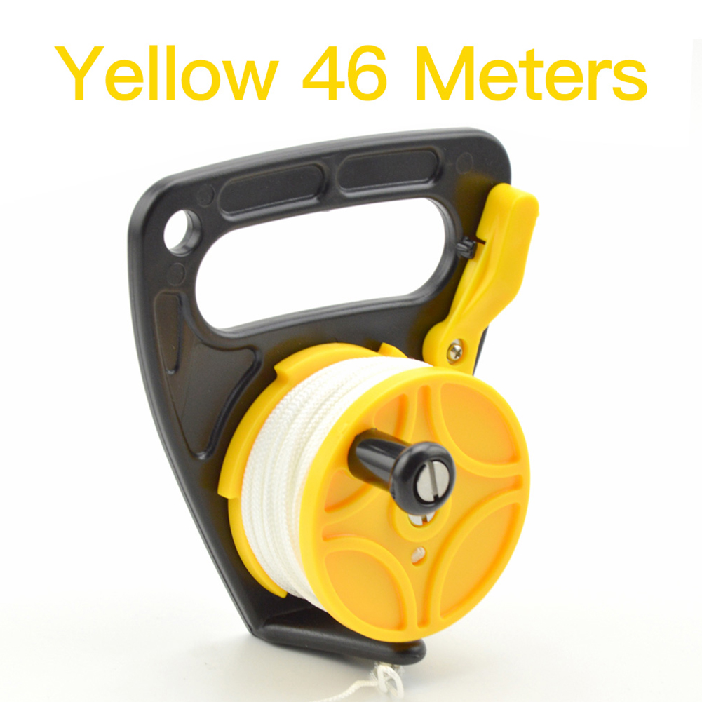 46/83m Line Handheld Diving Cave Reel for Underwater Scuba Wreck Cave Diving Snorkeling SMB Accessories 46 meters yellow round white line