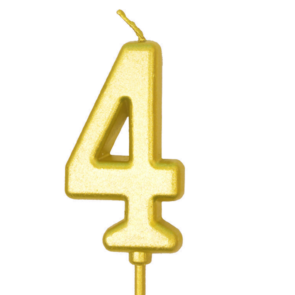 Number Candle Smokeless Gold Color Birthday Cake Topper Decorations Party Cake Supplies Number 4