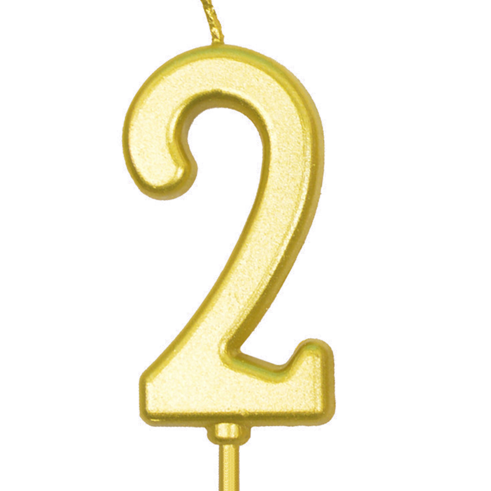 Number Candle Smokeless Gold Color Birthday Cake Topper Decorations Party Cake Supplies Number 2