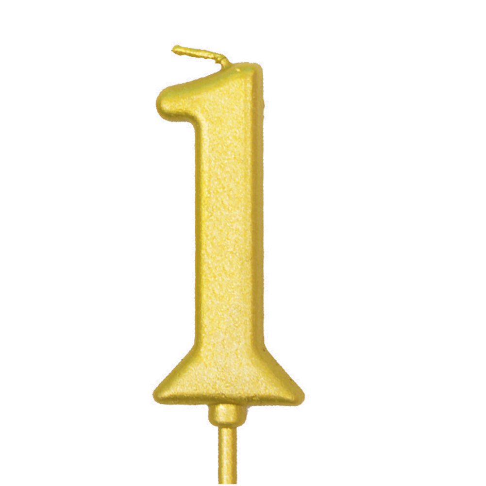 Number Candle Smokeless Gold Color Birthday Cake Topper Decorations Party Cake Supplies Number 1