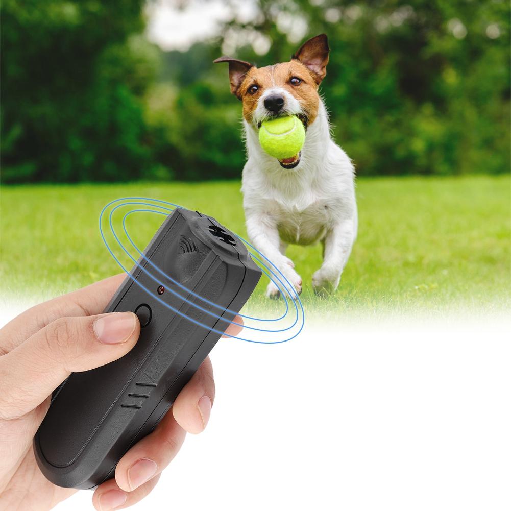 Portable Ultrasonic Pet Dog Repeller Anti Barking Control Training Device black