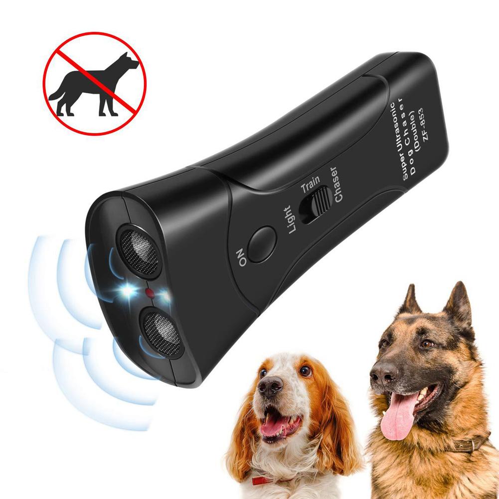 Ultrasonic Double-headed Dog Repeller Anti Barking Device Dog Taining Repeller black
