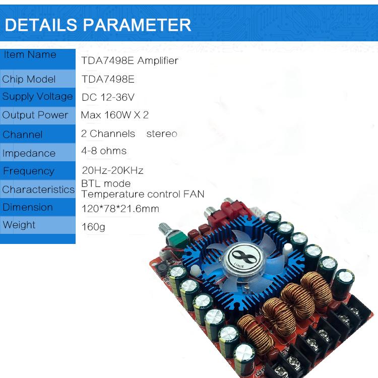TDA7498E Amplifier Board 2.0 High Power Digital HIFI Stereo 160W*2 Support BTL220W DC12V-36V red