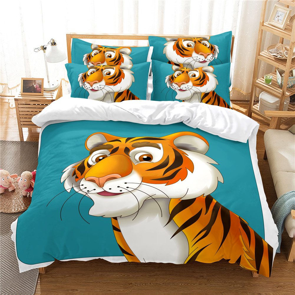 2Pcs/3Pcs Full/Queen/King Quilt Cover +Pillowcase Set with 3D Digital Cartoon Animal Printing for Home Bedroom FUll