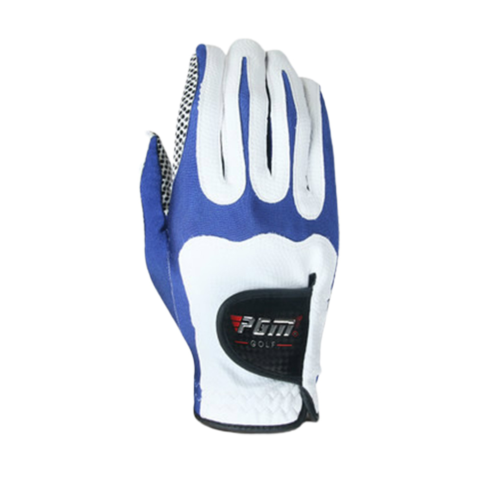 Men Golf Fiber Cloth Gloves Left/Right Hand Glove Magic Elastic Particles Men Slip-resistant Accessories [Right hand] white and blue_L
