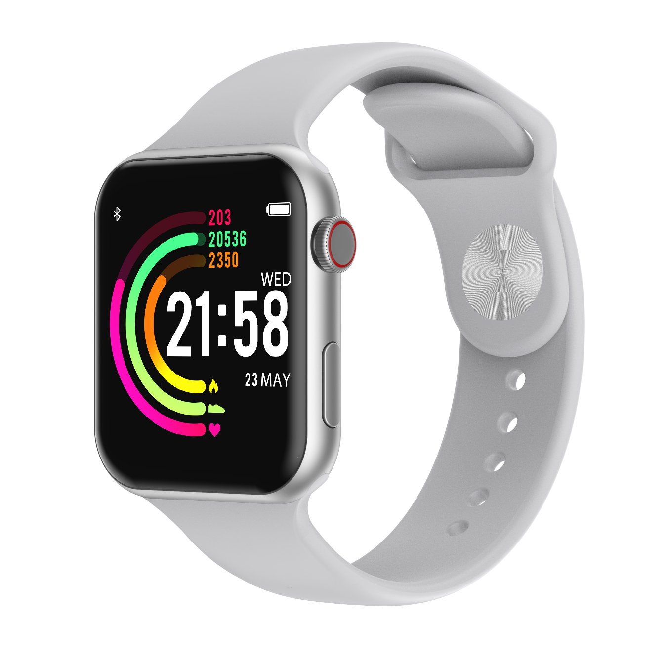 Smart Watch Full Touch Screen Heart Rate Blood Pressure Sports Tracker Fitness Watches Connect Android iOS Silver
