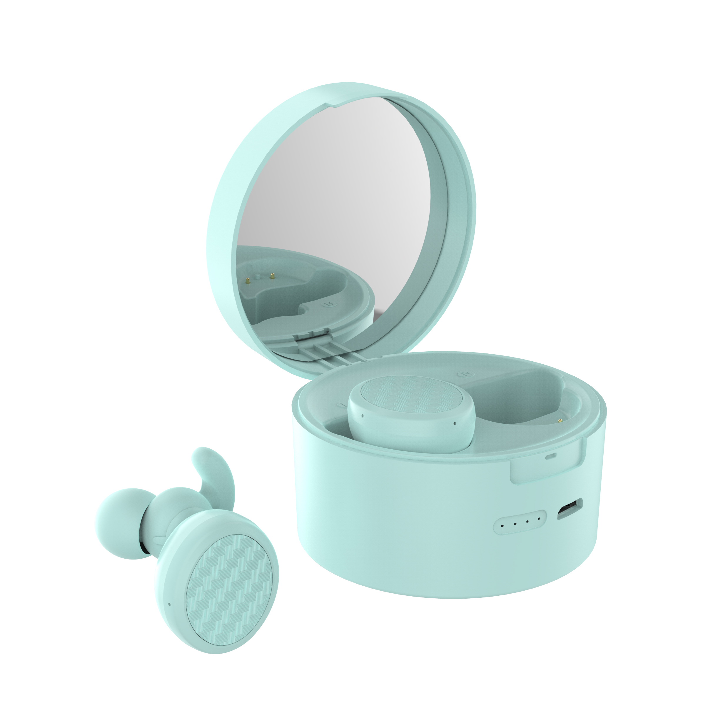 TWS Bluetooth Earphone Cosmetic Mirror 5.0 Earplugs Stereo Wireless Headset Phone Bracket blue