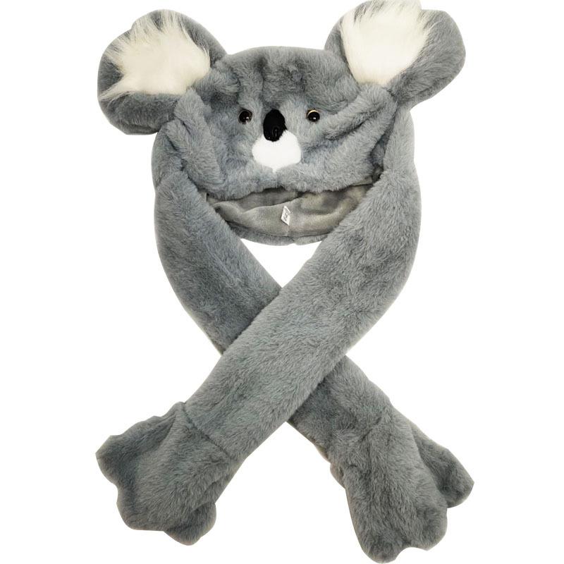 Lighting Lovely Cartoon Jumping Animal Ears Soft Plush Hat Air Bladder Cap Koala