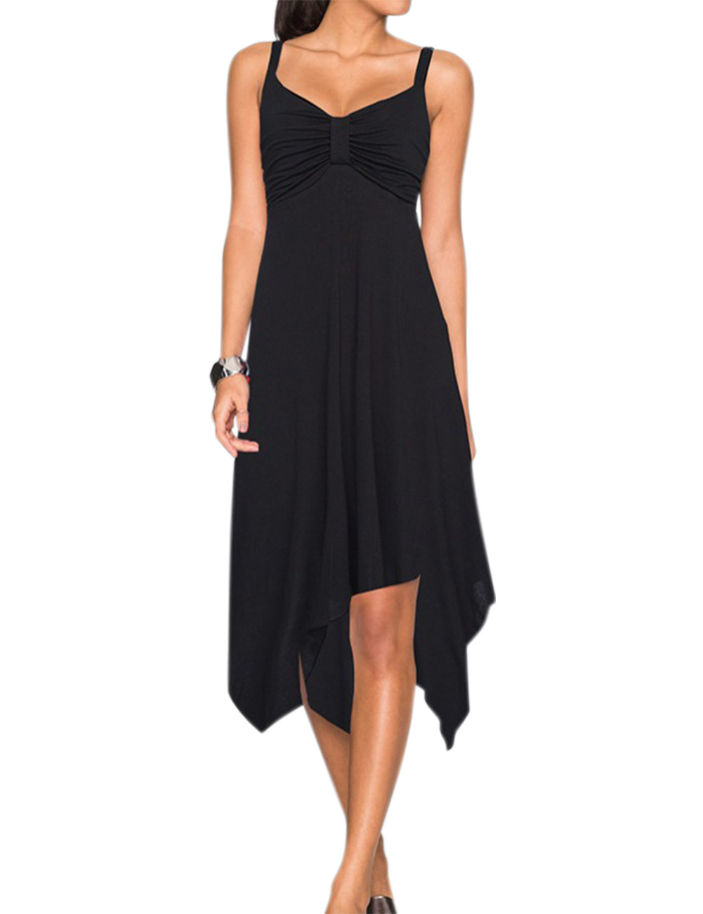 Liebeye Women's Casual Spaghetti Strap Ruched Asymmetrical A-line Sun Dress Black_M