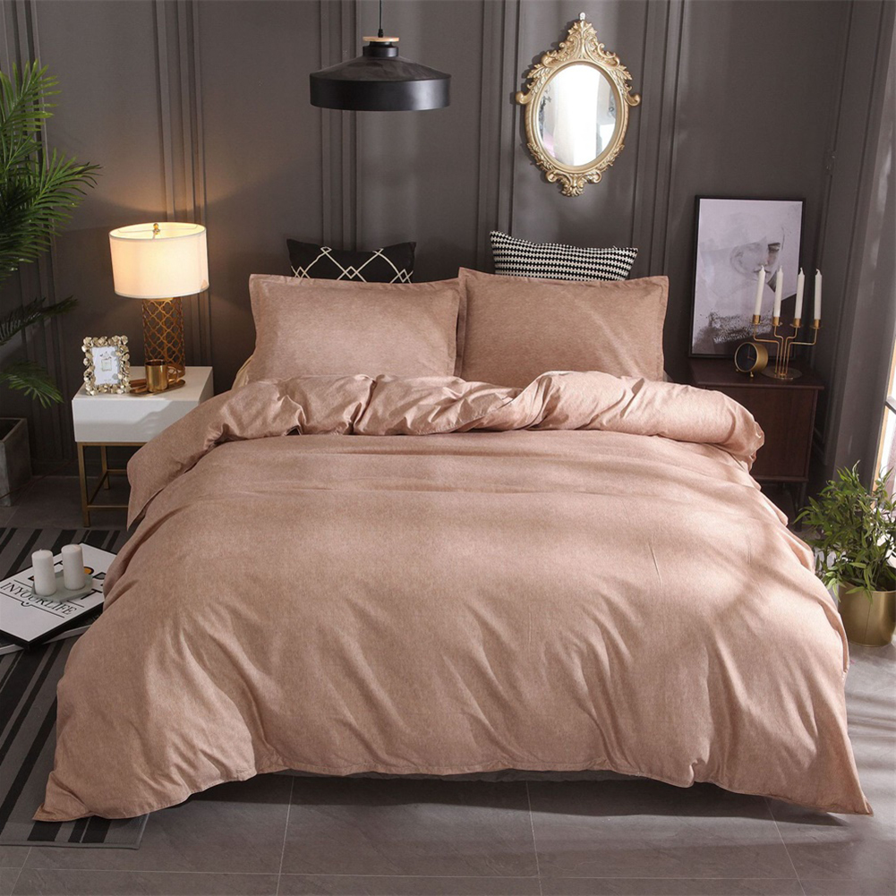 3  Pcs/set Bedding  Article Polyester Fiber Cotton And Linen Solid Color Duvet  Cover+  Pillow  Cover