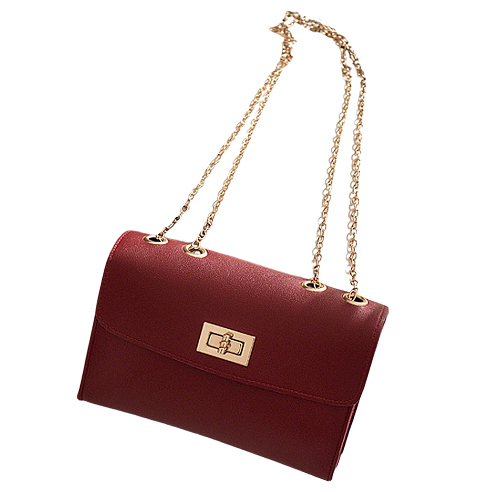 Woman Chic Single Shoulder Cross Body Satchel with Lock Catch red