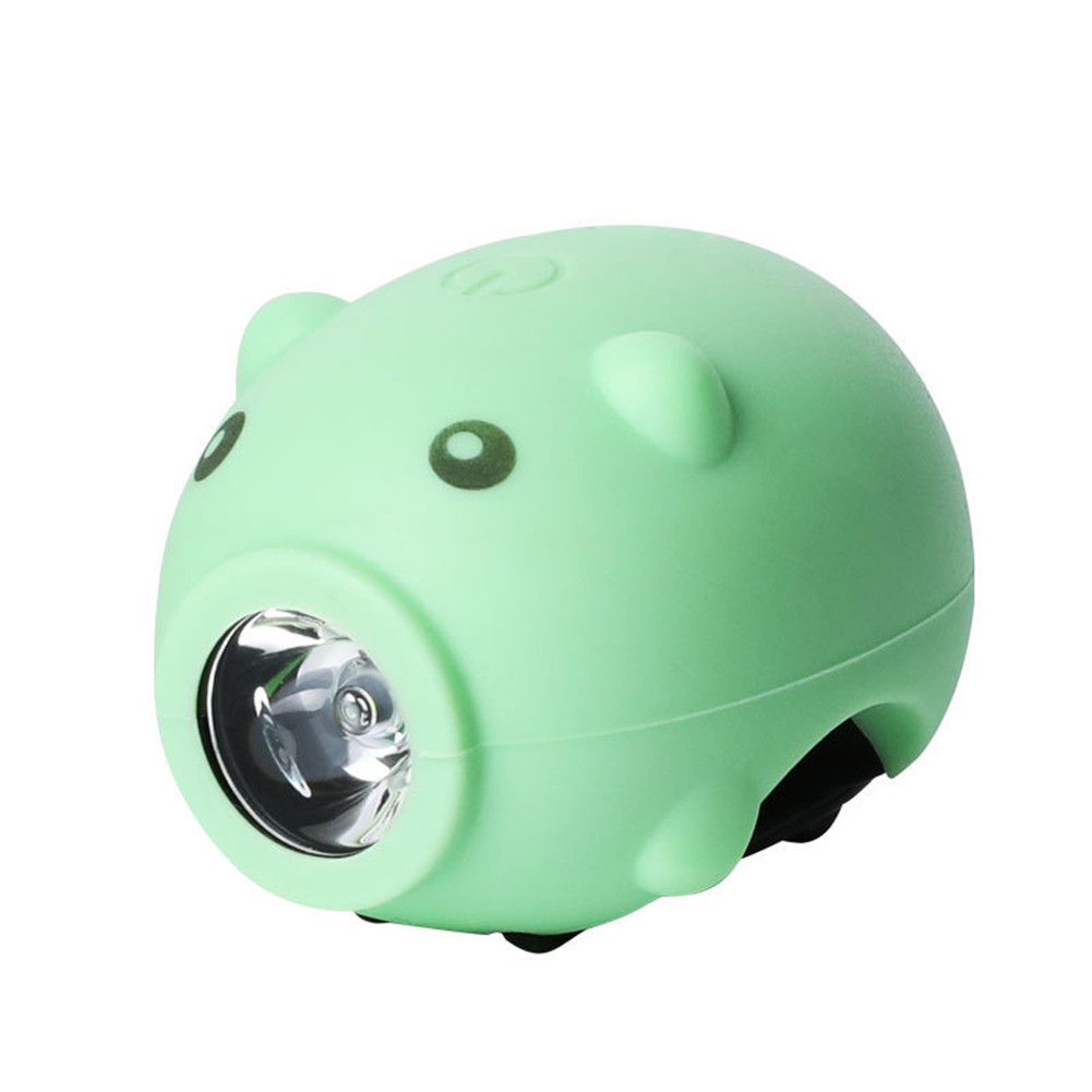 Cute  Bycycle  Headlight Usb Rechargeable Kids Bike Front Lights With 5 Molde Horn Cycling Led Flashlight Lamp Green