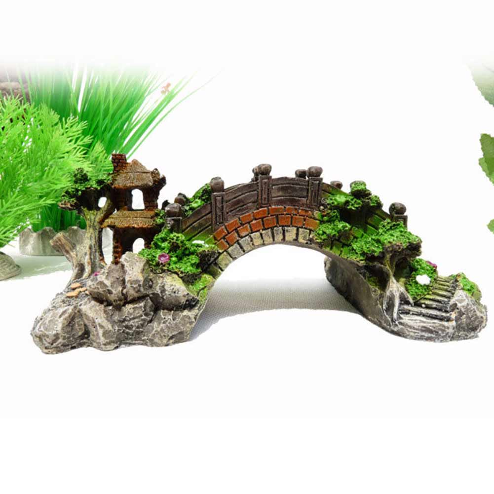 Simulate Resin Bridge Landscape Ornament for Aquarium Fish Tank Decoration small
