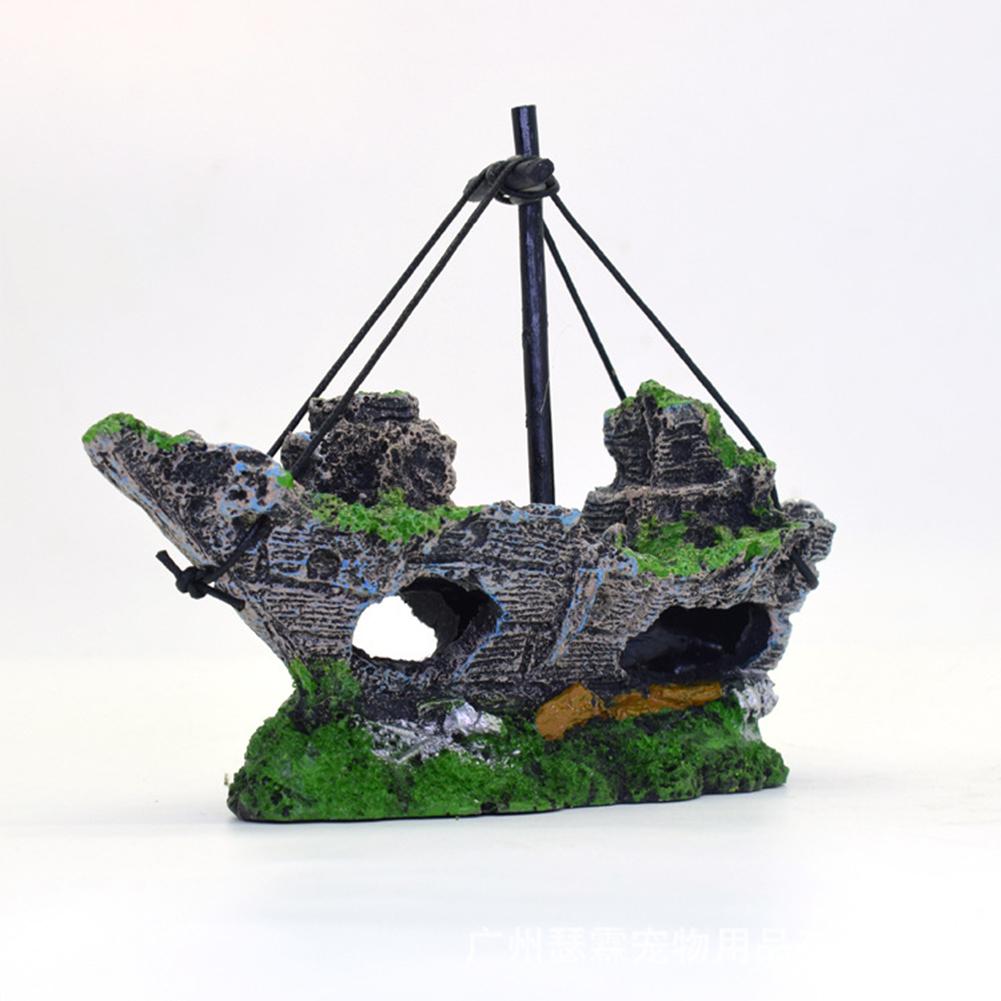 Creative Pirate Ship Aquarium Ornament Fish Tank Landscaping Home Office Decoration green