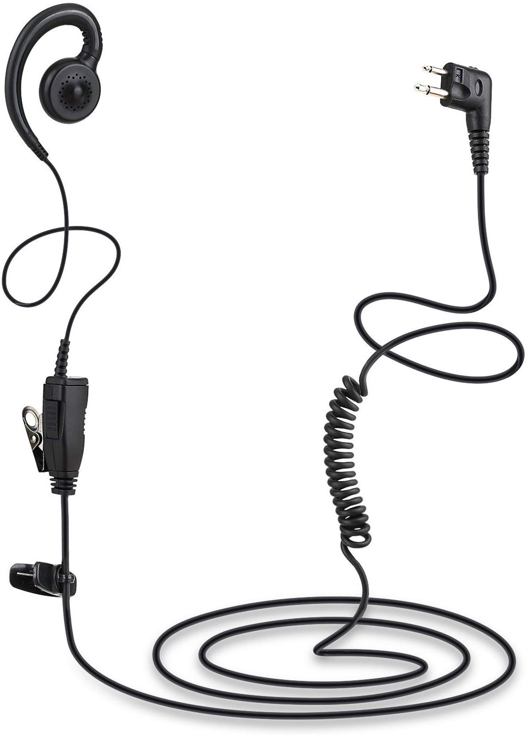 180° Rotatable Walkie Talkie Swivel Earpiece Intercom Earphone with Microphone and PTT for Motorola Portable Two-way Radio CLS1410, CLS1100, HKLN4604A black