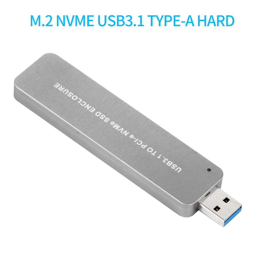 USB3.1 to PCI-E NVME M.2 TYPE-A SSD Hard Disk Box Adapter Card External Enclosure Case for 2242/2260/2280 GB SSD Silver