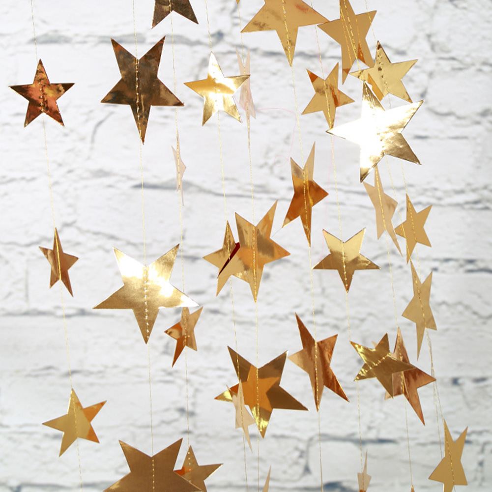 4M Gold Silver Blue Pentagram Stars Shaped Banner Pendant Hanging Decor Birthday Christmas Xmas Party Supplies 4M-gold-L