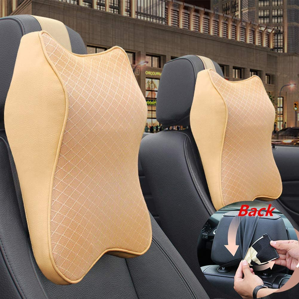 Car Seat Headrest Neck Rest Cushion Ergonomic Car Neck Pillow Durable Memory Foam Carseat Neck Support Beige