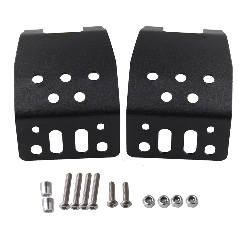 2pcs/set Stainless Steel Metal Axle Skid Plate Protection Case for Axial SCX10 1/10 RC Crawler Car black
