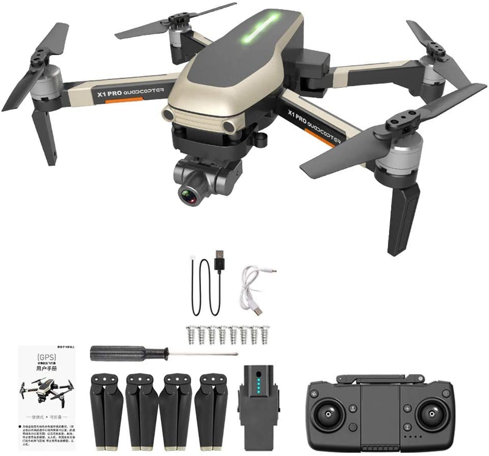 X1 PRO GPS Folding Drone 4k 120 ° Wide Angle WiFi FPV HD Camera Selfie Two-Axis Mechanical Gimbal GPS One Key to Return to The Flight Point, Follow Me Low-Power Home 1 battery