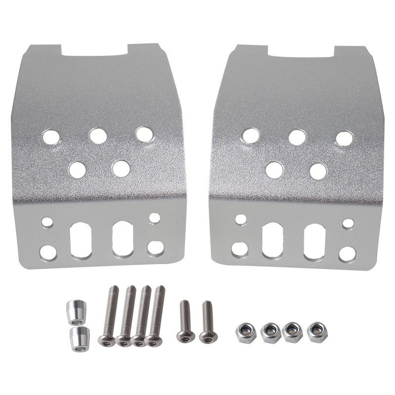 2pcs/set Stainless Steel Metal Axle Skid Plate Protection Case for Axial SCX10 1/10 RC Crawler Car Silver