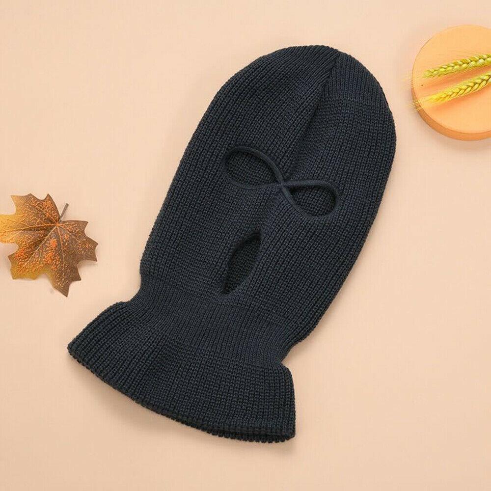 Face Mask Ski Mask Winter Cap 3 Hole Balaclava Hood  Warm Beanie Hat  Three holes black_One size