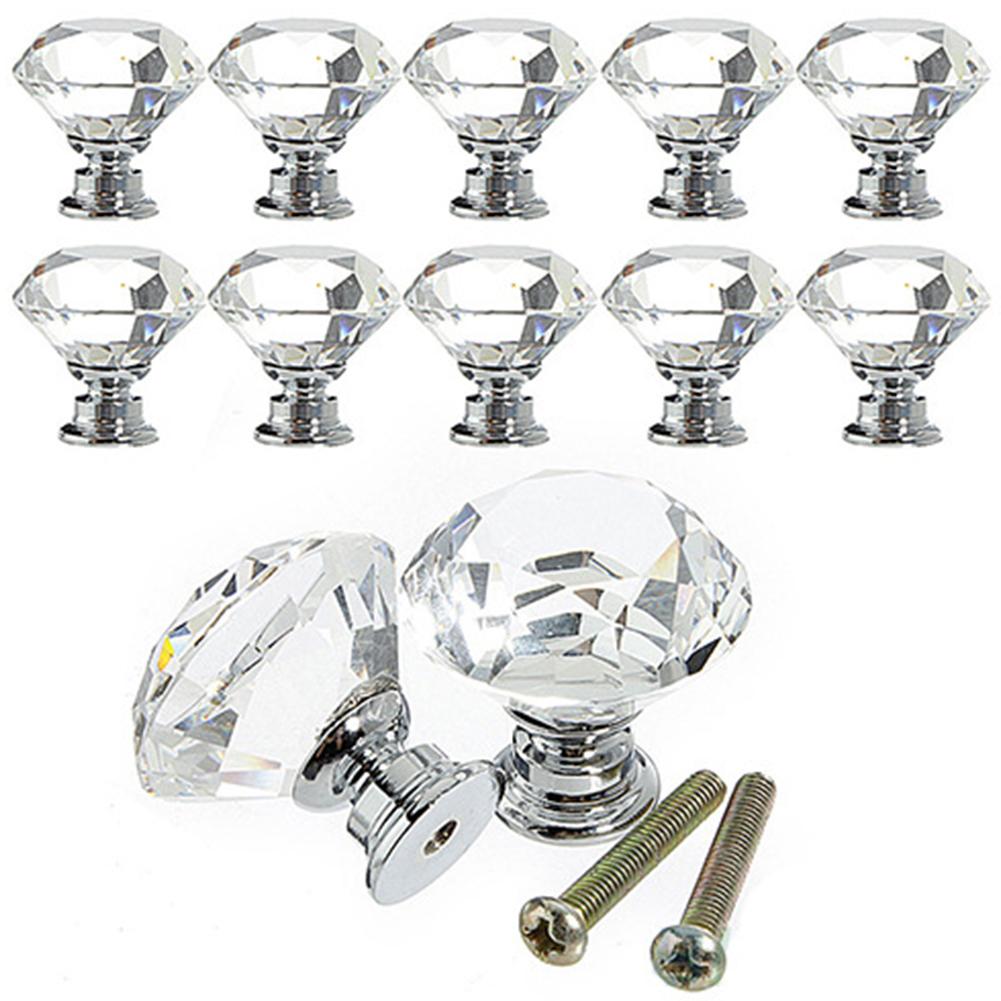 Luxurious Diamond Shape Crystal Ball Door Knobs Zinc Alloy Pull Handle for Cabinet Drawer Wardrobe Cupboard Kitchen Door 30 * 30