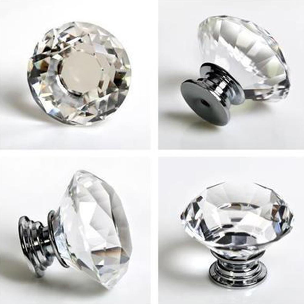 Luxurious Diamond Shape Crystal Ball Door Knobs Zinc Alloy Pull Handle for Cabinet Drawer Wardrobe Cupboard Kitchen Door 40mm