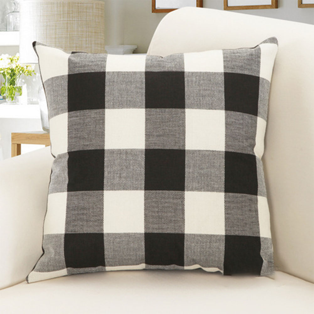 Grid Pattern Style Home Decor Fashion Design Soft Pillow Case Sofa Cushion Cover (Without Pillow) Black and white grid_45x45cm