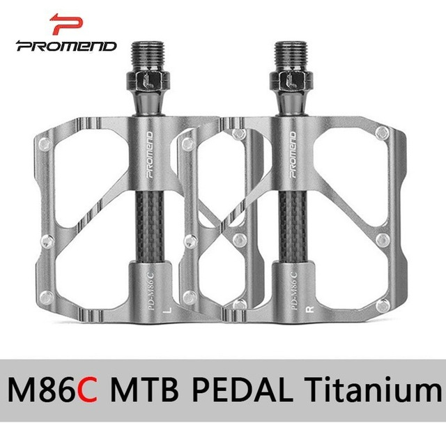 PROMEND Mtb Pedal Quick Release Road Bicycle Pedal Anti-slip Ultralight Mountain Bike Pedals Carbon Fiber 3 Bearings Pedale Vtt PD-M86 Mountain Style Silver