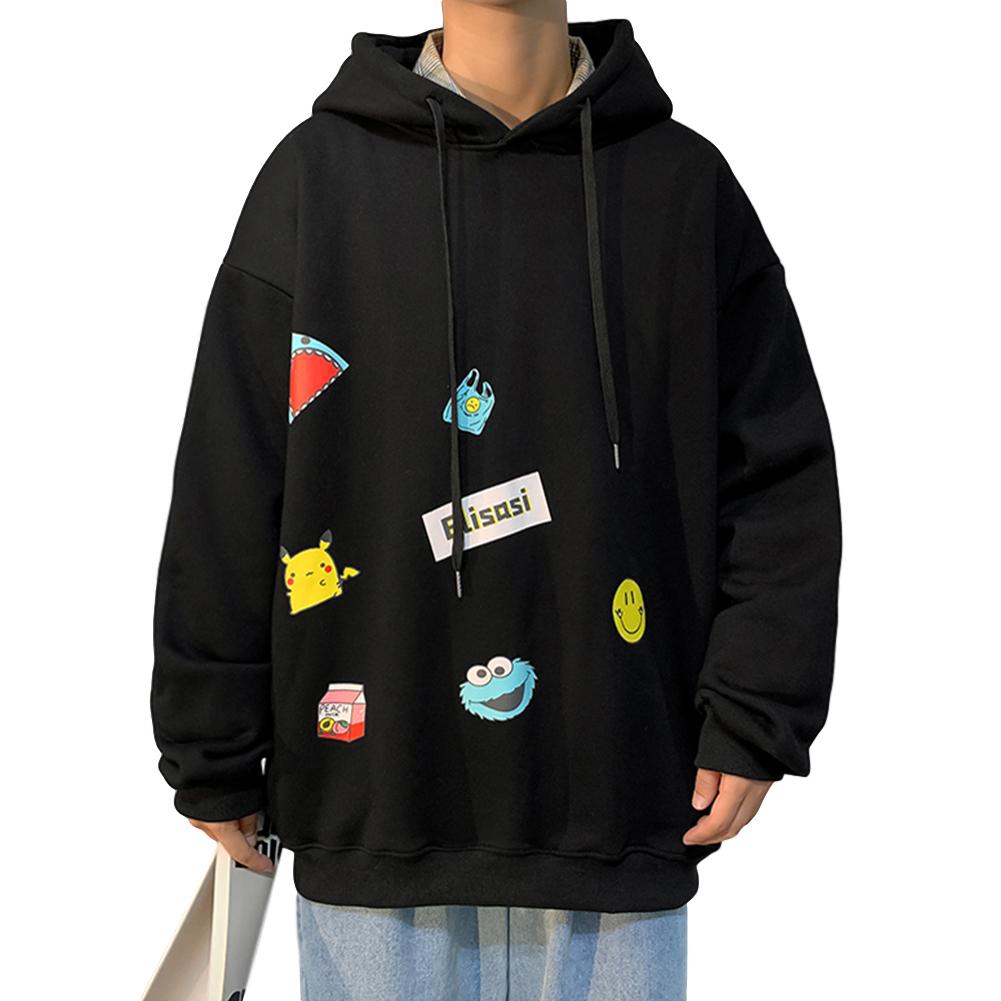Men's Hoodie Fall Winter Cartoon Print Large Size Loose Long-sleeve Hooded Sweater Black _L