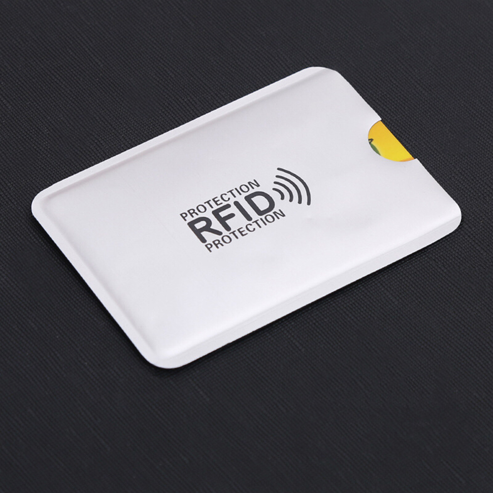Bank ID Card Anti-degaussing Card Holder Anti RFID Anti-thefting Card Cover  Silver vertical paragraph - with words