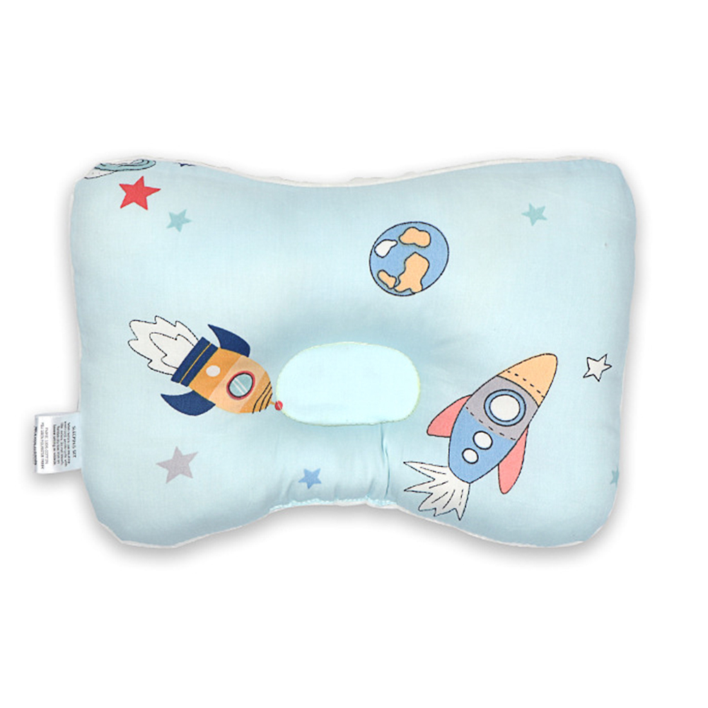 Cartoon Printing Prevent Flat Head Cotton Pillow for Baby Infant All Year Use Rocket BY1031-1