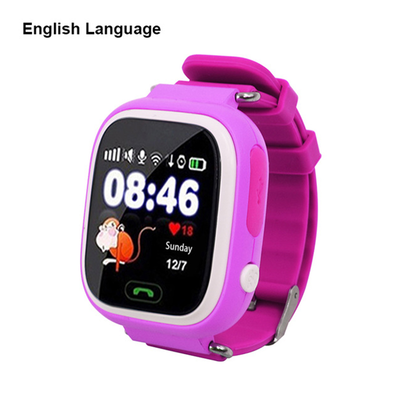 Touch Screen WIFI Positioning Children Smart Wrist Watch Locator for Kid Safe Anti-Lost Pink