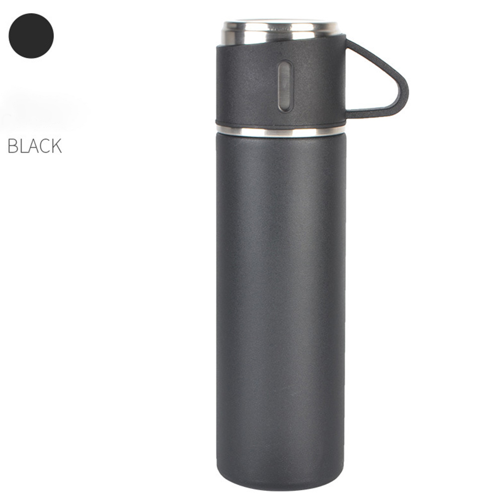 Outdoor Vacuum Cuo for Women Men Large Capacity 304 Stainless Steel Travel Portable Kettle Cup 500ML Black-insulation cup (cover cup dual-use)