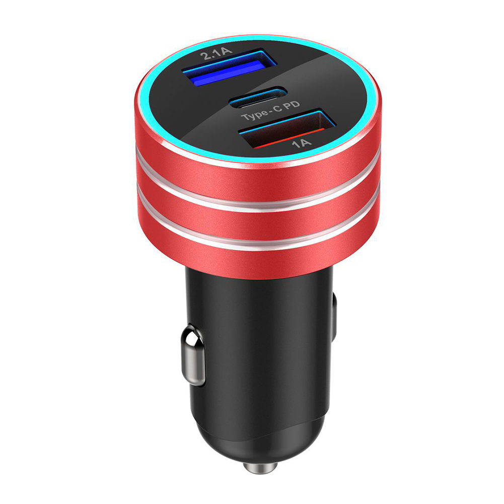 3.1A Dual USB Type-C Car Charger Fast Charging with LED Display Universal Mobile Phone Tablet  red