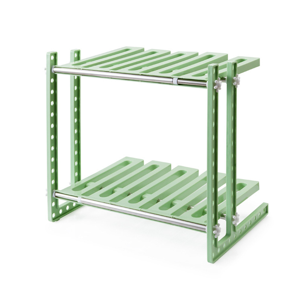 2 Layers Storage Rack Adjustable Kitchen Cupboard Shelf Organiser Cabinet Holder Light green