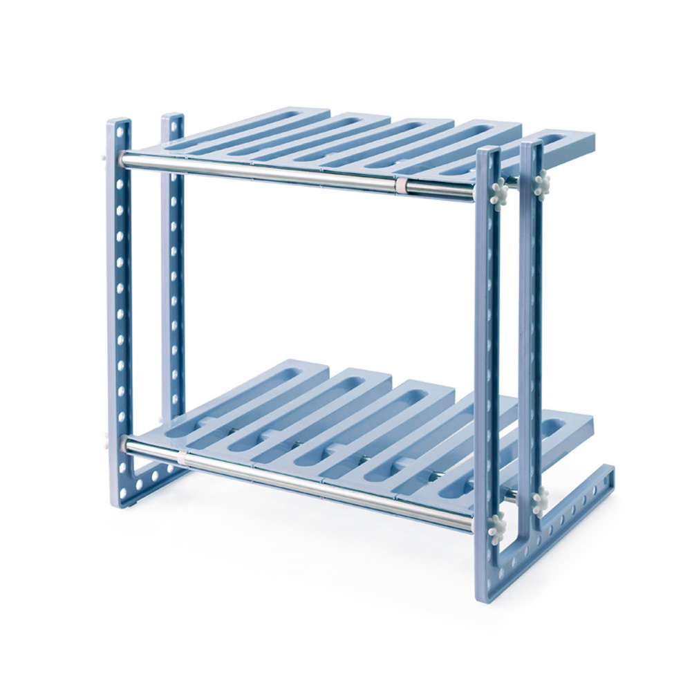 2 Layers Storage Rack Adjustable Kitchen Cupboard Shelf Organiser Cabinet Holder Gray blue