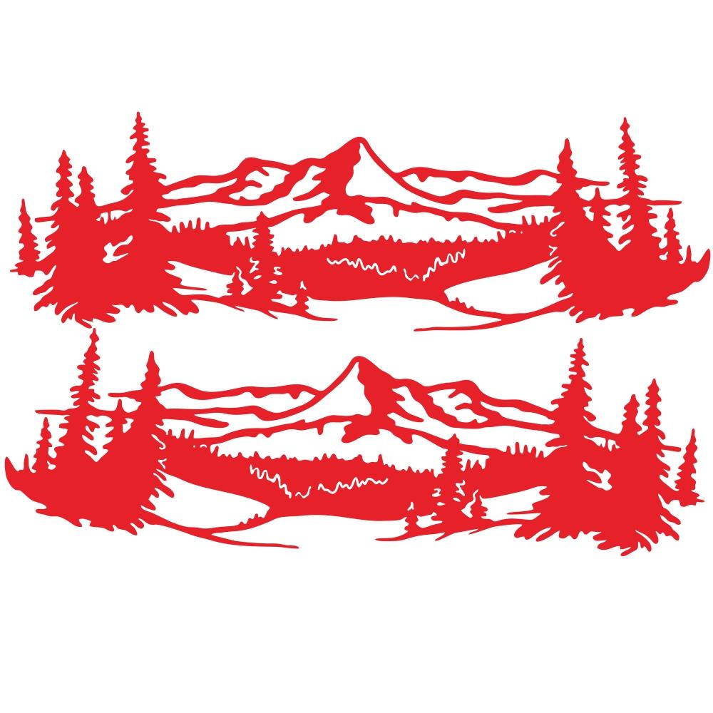 2 Pcs 50 * 150cm Universal Tree Sticker Mountain Scene Northern Great Car Sticker Vinyl Truck Rv Toy Transporter Accessories Vehicles Cars red